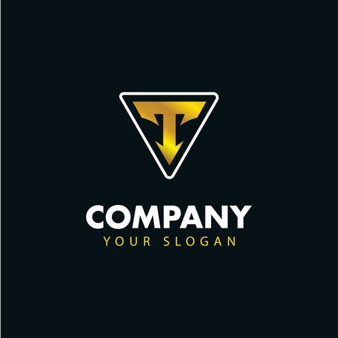 Logotipo del emblema de la letra T. diseño de logotipo vectorial. vector