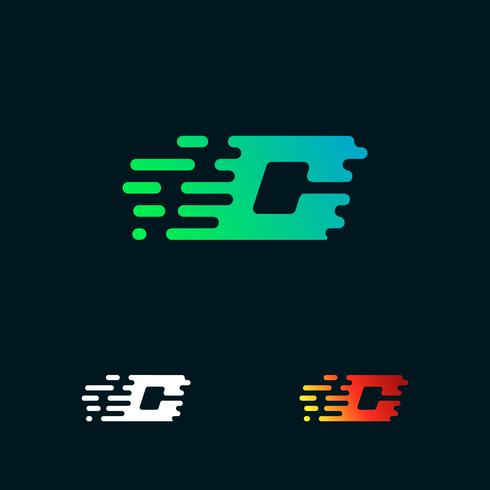 letter C modern speed shapes logo design vector