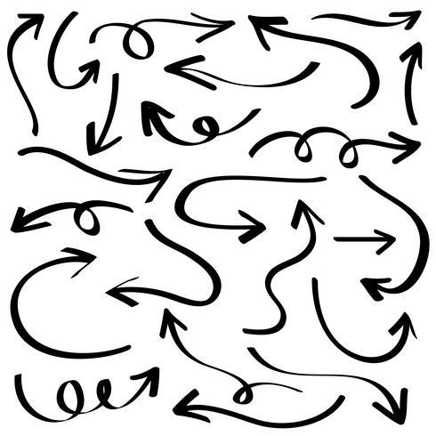 Illustrazione dello schizzo di lerciume fatto a mano. Insieme della freccia di vettore. vettore