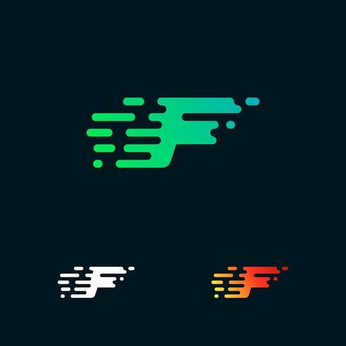 letra F moderna velocidade formas logo design vector