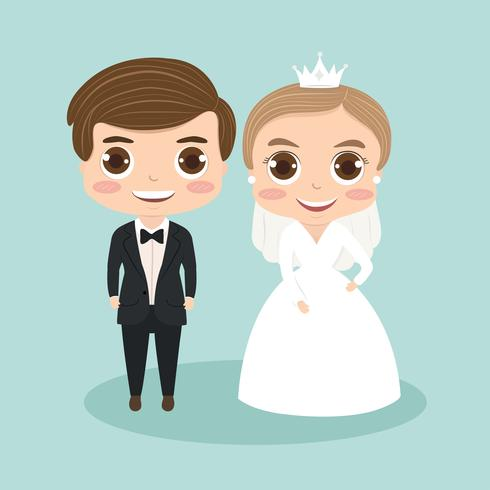 cute bride and groom cartoon couple for wedding invitations card