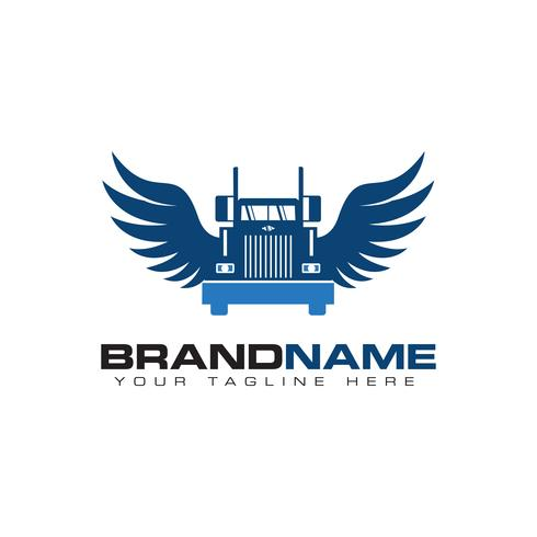 truck transportation with wing logo design template vector
