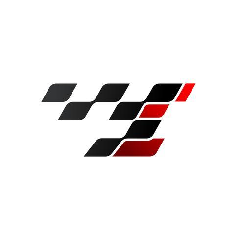 Lettre I avec logo drapeau de course vecteur