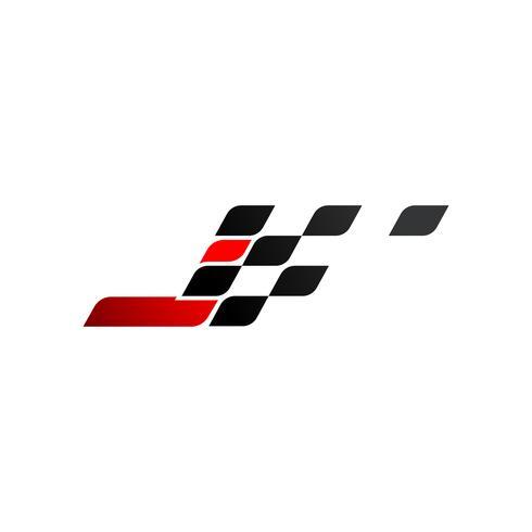 Letra J com logotipo de bandeira de corrida vetor
