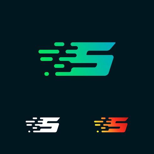 Number 5 modern speed shapes logo design vector