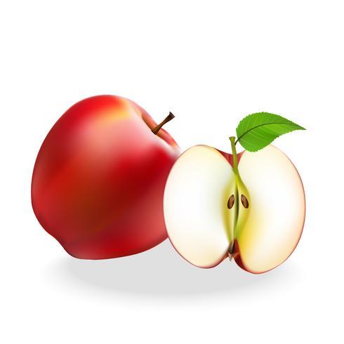 De rode ballen van het appelfruit worden geplaatst op een witte achtergrond.