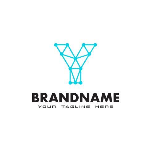 Buchstabe Y Punkt Netzwerkverbindung Logo Design-Vorlage