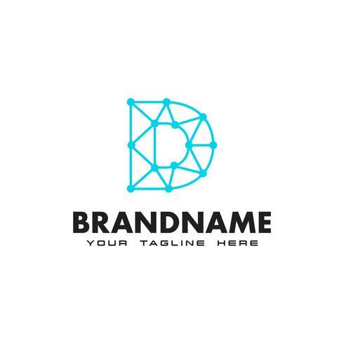 Buchstabe D Punkt Netzwerkverbindung Logo Design-Vorlage