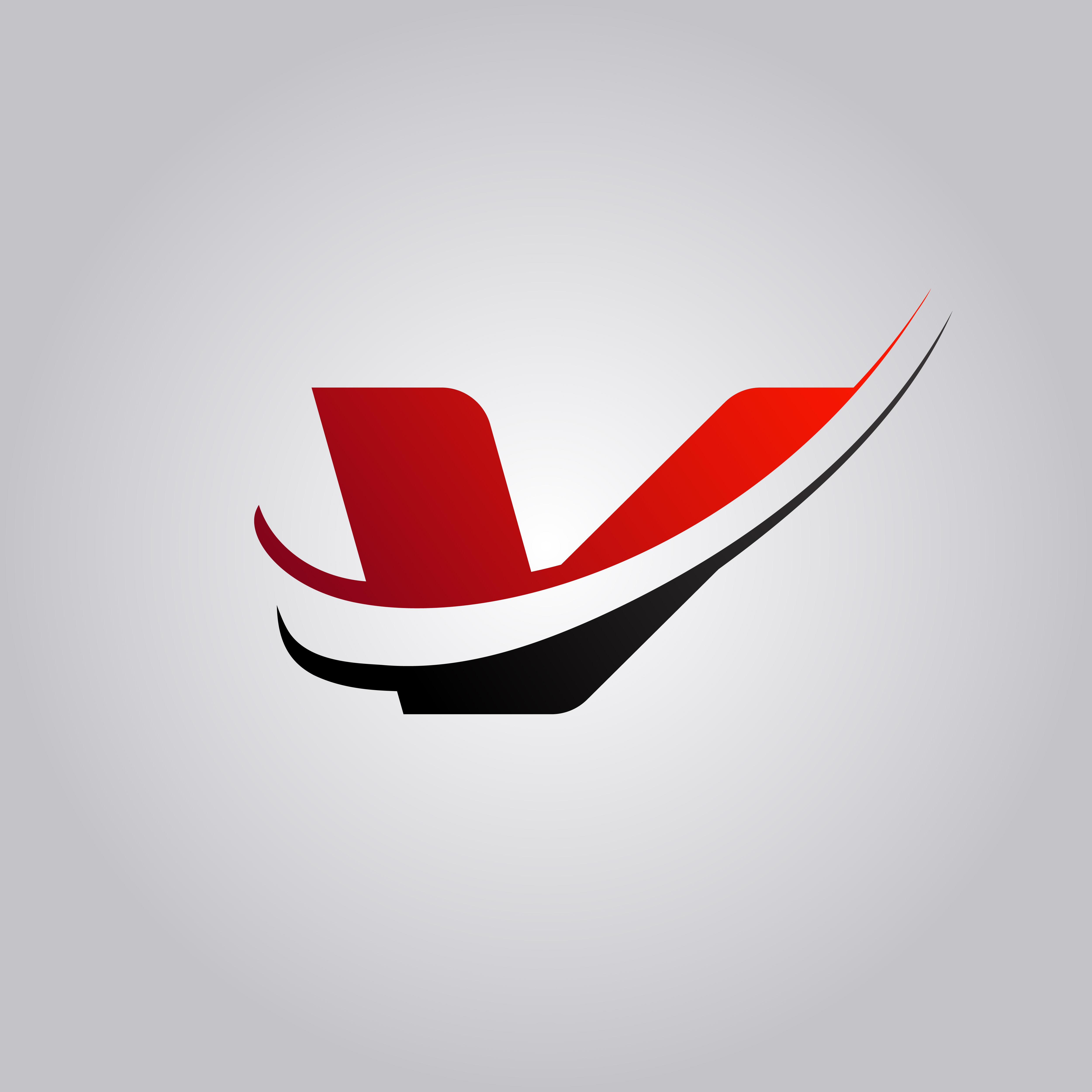 Initial V Letter Logo With Swoosh Colored Red And Black