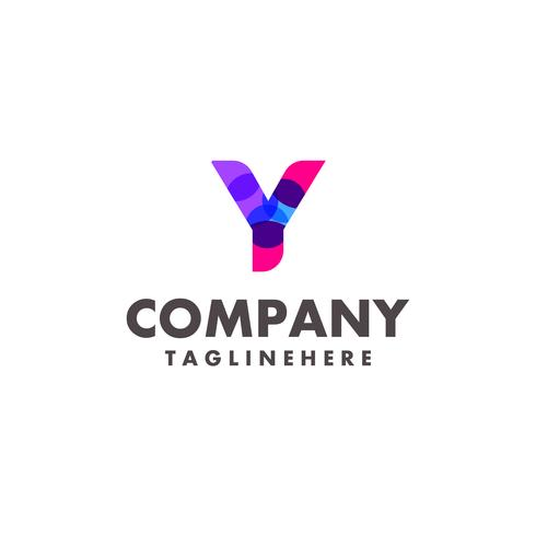 abstract colorful letter Y logo design for business company with modern neon color vector