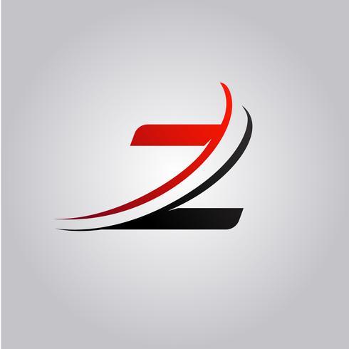 initiales logo Z Lettre avec swoosh de couleur rouge et noir vecteur