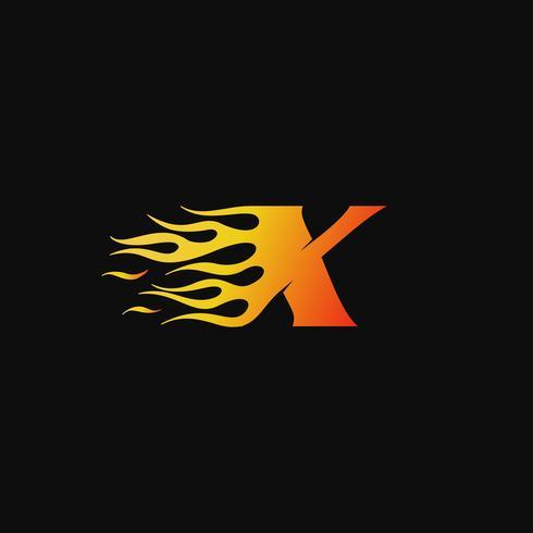 Letra X plantilla de diseño de logotipo de llama ardiente