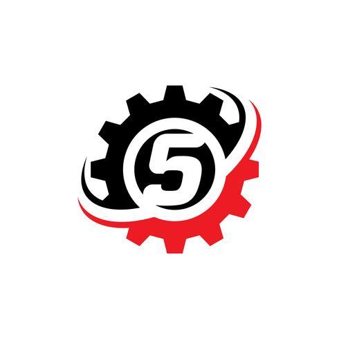 Nummer 5 Gear Logo Design-Vorlage