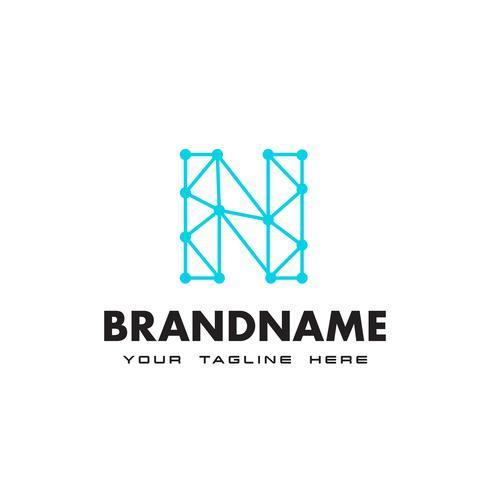 Logotipo de conexión de red de letra N punto Plantilla de diseño vector