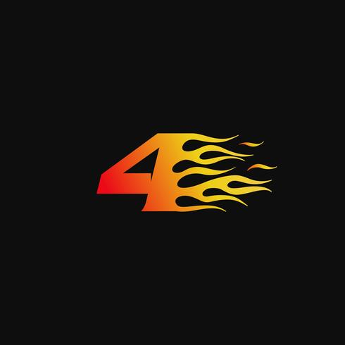 Nummer 4 Burning flame logo design mall vektor