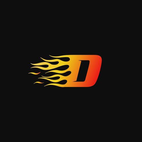 Letra D plantilla de diseño de logotipo de llama ardiente