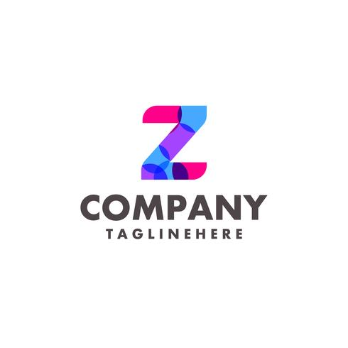 abstract colorful letter Z logo design for business company with modern neon color vector