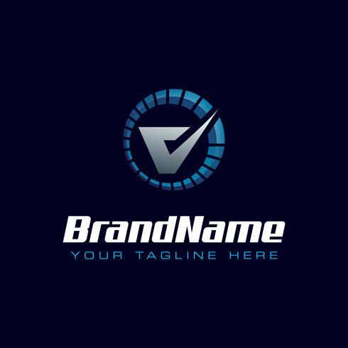 Letter V snelheidsmeter logo. Toerenteller snelheidslogo vector