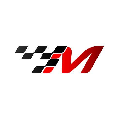 Letra M con logo de bandera de carreras.