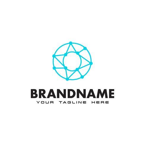 Logotipo de conexión de red de letra O punto Plantilla de diseño