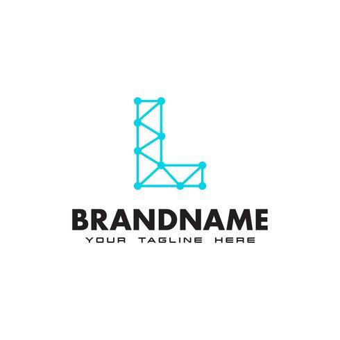 Letter L dot netwerkverbinding logo ontwerpsjabloon