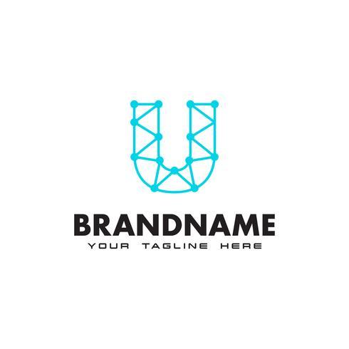 Logotipo de conexão de rede letra U dot Modelo de Design