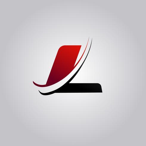 logotipo inicial L letra com swoosh colorido vermelho e preto vetor