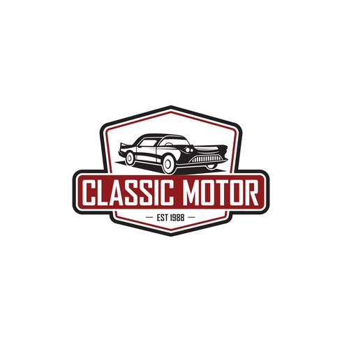 illustration classic car logo template vector