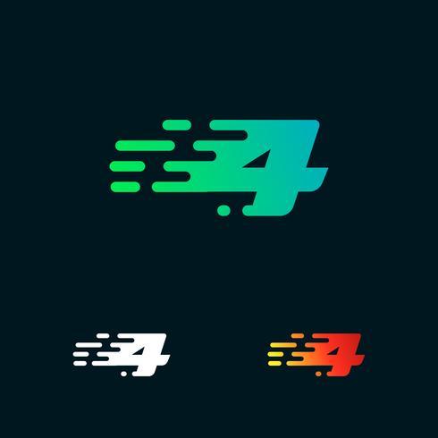 Número 4 velocidad moderna formas vector logo diseño