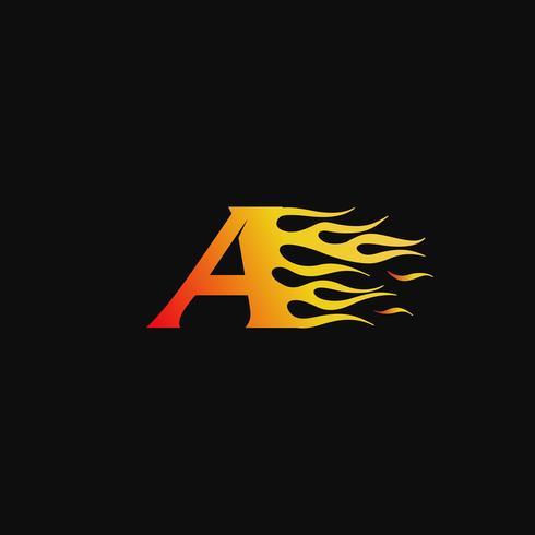 lettera A Modello di progettazione logo fiamma ardente vettore