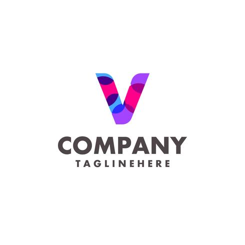 abstract colorful letter V logo design for business company with modern neon color vector