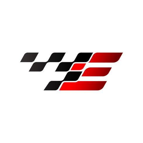 Letra E com logotipo de bandeira de corrida