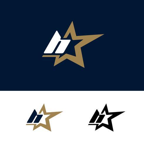 Modello di logo lettera H con elemento di design stella. Illustrazione vettoriale