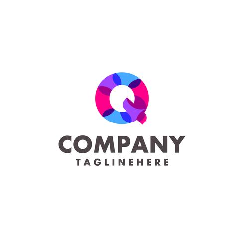 abstract colorful letter Q logo design for business company with modern neon color