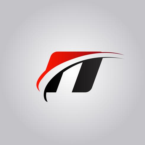 initial N Letter logo with swoosh colored red and black vector