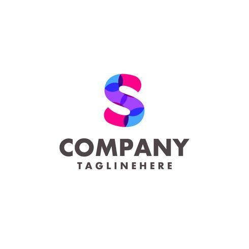 Diseño de logotipo abstracto colorido letra S para empresa de negocios con moderno color neón