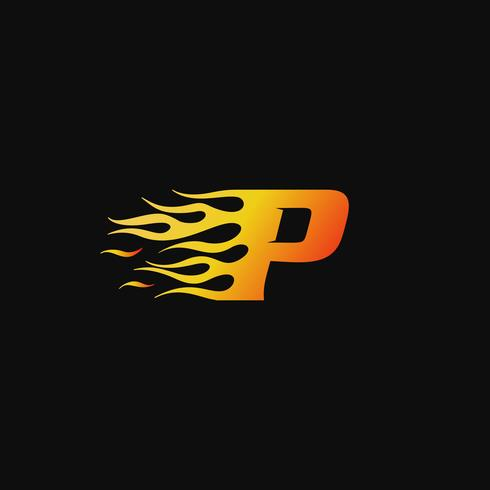 Letra P plantilla de diseño de logotipo de llama ardiente vector