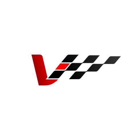 Letra V con logo de bandera de carreras.