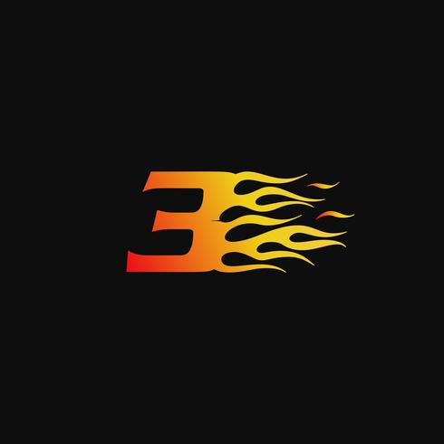Nummer 3 Brandende vlam logo ontwerpsjabloon vector