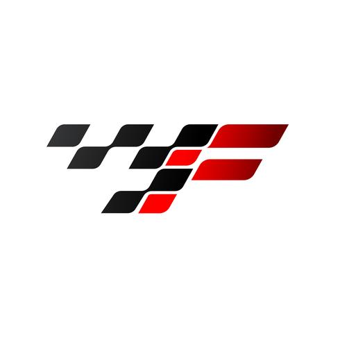 Letter F with racing flag logo vector