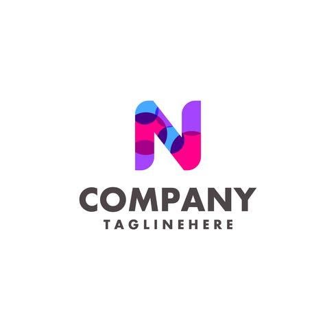 abstract colorful letter N logo design for business company with modern neon color vector