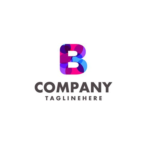 abstract colorful letter b logo design for business company with modern neon color