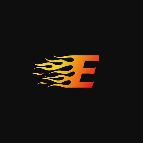 Buchstabe E brennende Flamme Logo Entwurfsvorlage