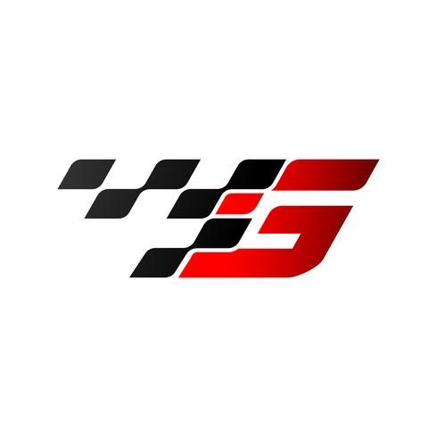 Letra G com logotipo de bandeira de corrida vetor