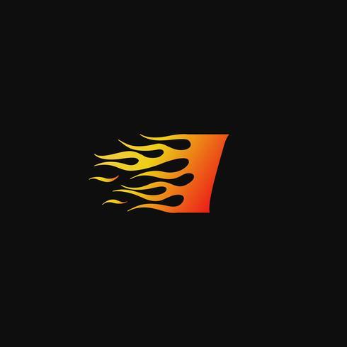Letra I plantilla de diseño de logotipo de llama ardiente