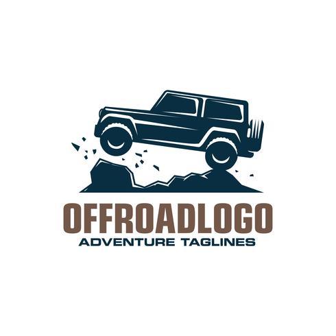 Logo de voiture tout-terrain, safari suv, expédition offroader. vecteur