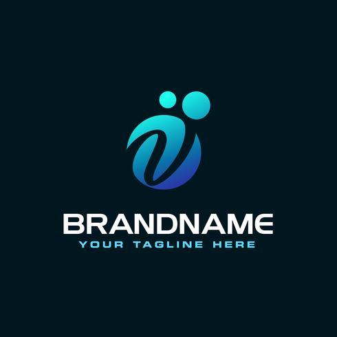 Dots Letter V Logo. V lettera disegno vettoriale con punti.