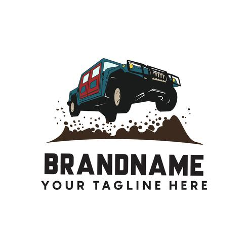 Extremes Offroad-Abenteuer. Automobil-Logo-Vorlage. Vector illu