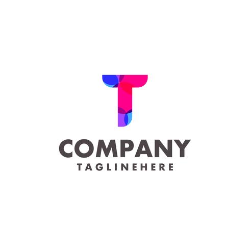abstract colorful letter T logo design for business company with modern neon color vector