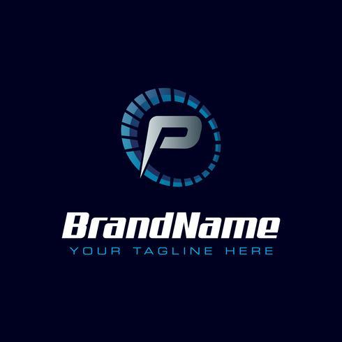 Logotipo do velocímetro de letra P. Logotipo de velocidade do tacômetro vetor